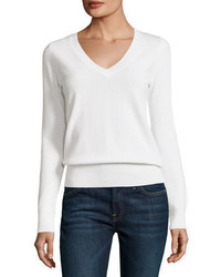 Neiman Marcus Cashmere Collection Classic Cashmere V Neck Sweater