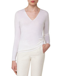 Cashmere silk v neck pullover off white medium 3698203