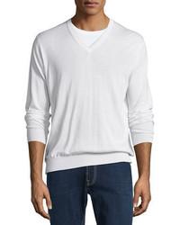 Cashmere silk v neck sweater medium 826329