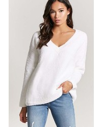 Forever 21 Faux Fur V Neck Sweater