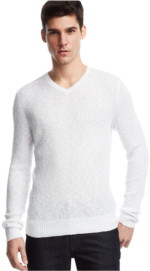 Kenneth Cole Reaction Long Sleeve Rib V Neck Pullover Sweater ...
