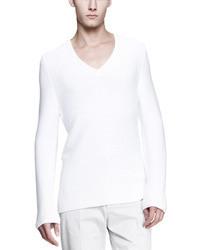 Maison Martin Margiela Long Sleeve V Neck Sweater White