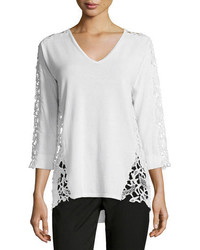 Magaschoni 34 Sleeve Lace Inset Sweater Blanc