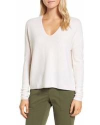 Nordstrom Signature Textured Cashmere V Neck Sweater