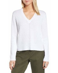 Nordstrom Signature Textured Front V Neck Sweater