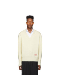 AMI Alexandre Mattiussi Off White Oversized V Neck Sweater