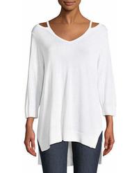 Joan Vass Open V Neck Easy Sweater Tunic