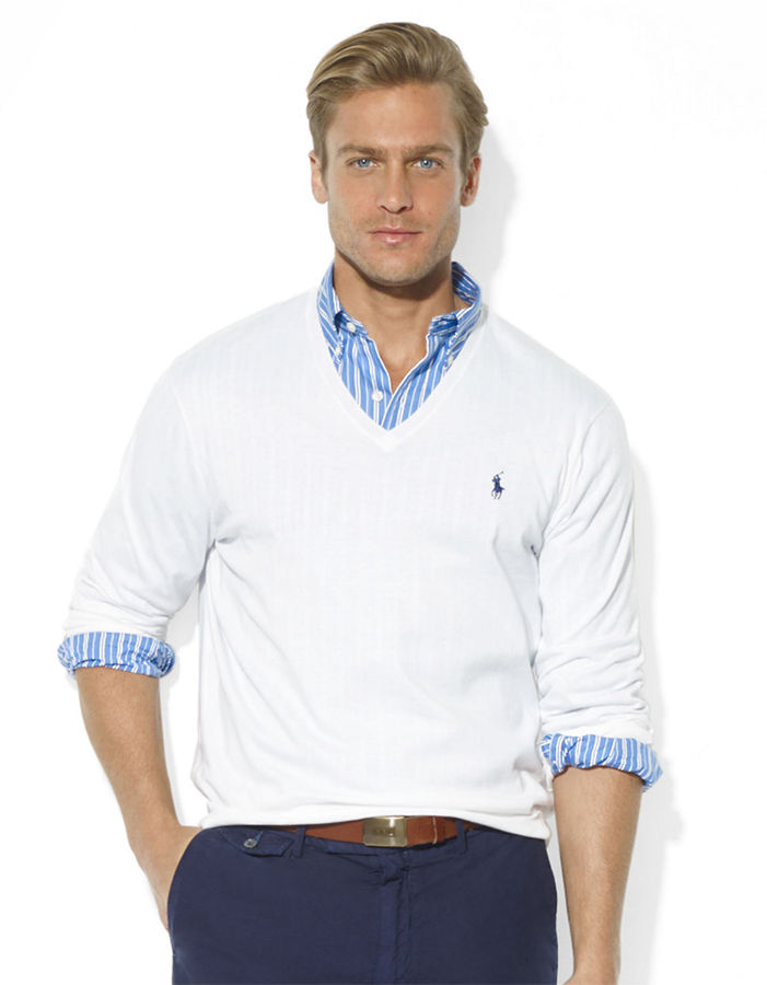 Mens white v neck sweater jumpers sale for Mens sweater collared shirt