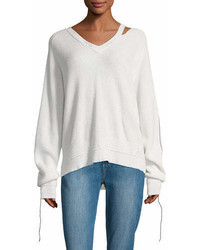 Helmut Lang V Neck Long Sleeve Cotton Cashmere Rib Knit Sweater