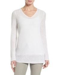 Eileen Fisher V Neck Organic Linen Sweater