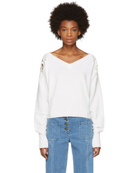 Chloé White Lace Shoulder V Neck Sweater