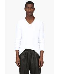 Maison Martin Margiela White V Neck Long Sleeve Sweater