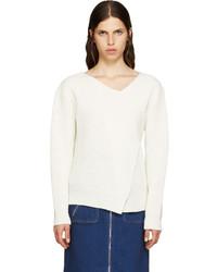 MSGM White Wool Angular Sweater