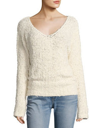Elizabeth and James Wyatt Open V Neck Pullover Sweater Ivory