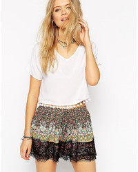 Asos Collection Cropped V Neck T Shirt With Pom Pom Trim Hem