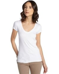 BCBGMAXAZRIA Bright Poppy Stretch Rib Knit V Neck T Shirt
