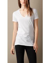 Burberry Brit V Neck Cotton Jersey T Shirt