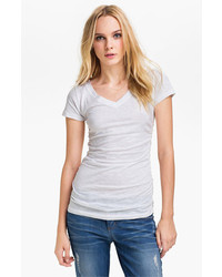 Caslon Shirred V Neck Tee White Large P