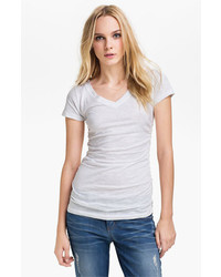 Caslon Shirred V Neck Tee White X Small