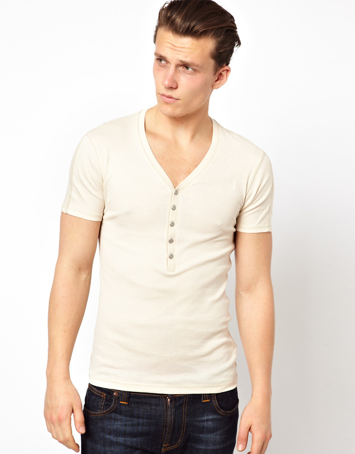 ... G Star T Shirt Correct Line Grandad Deep Vneck ...
