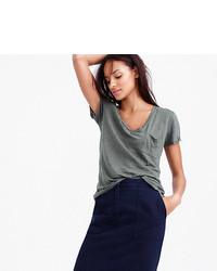 26df55d2d7d5a8 J.Crew Linen V Neck Pocket T Shirt, $36 | J.Crew | Lookastic.com