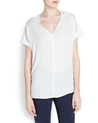 Mango Outlet Double V Neck T Shirt