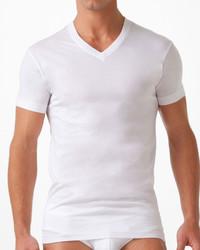 Pima cotton v neck t shirt white medium 592086