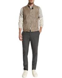 Brunello Cucinelli Short Sleeve V Neck Jersey T Shirt White