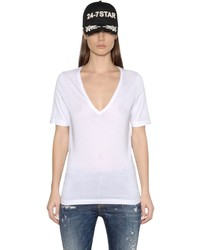 Dsquared2 V Neck Cotton Jersey T Shirt