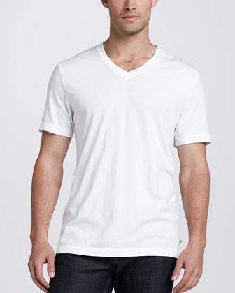 66a5307a108 James Perse V Neck Cotton Tee White, $50   Neiman Marcus   Lookastic.com