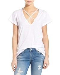 LnA V Neck Strap Detail Cotton Tee