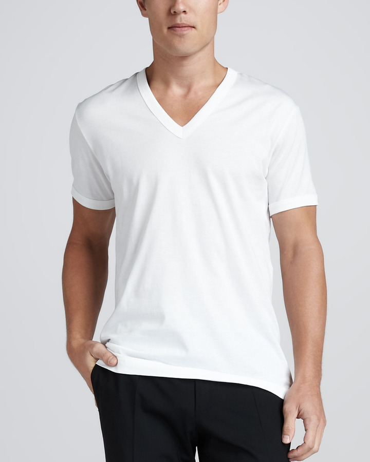 ... T-shirts Dolce & Gabbana V Neck Tee With Logo Plaque White ...