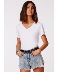 Missguided Vrinda White V Neck T Shirt