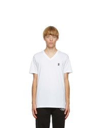 Burberry White Marlet V Neck T Shirt