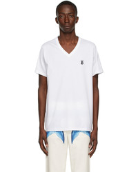 Burberry White Marlet V Neck T Shirt