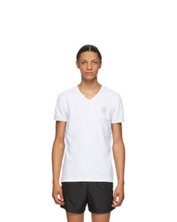 Versace Underwear White Medusa V Neck T Shirt