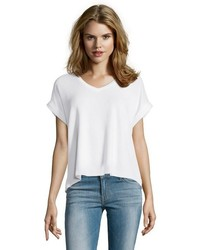 Wyatt White Rib Knit Cuffed Cap Sleeve V Neck Tee Shirt