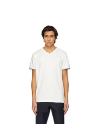 Moncler White S V Neck T Shirt