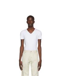 Ermenegildo Zegna White Seamless V Neck T Shirt