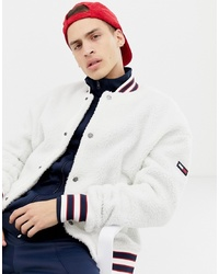 Tommy Jeans Teddy Bomber Jacket With Icon In White