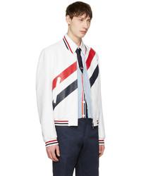 Thom Browne White Stripe Varsity Jacket