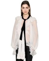 Chloé Ruffled Silk Crepon Shirt W Velvet Bow