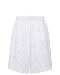 White Vertical Striped Bermuda Shorts