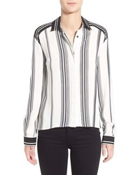 White Vertical Striped Blouse