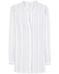 White Vertical Striped Button Down Blouse