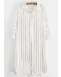 Dip Hem Vertical Striped White Blouse