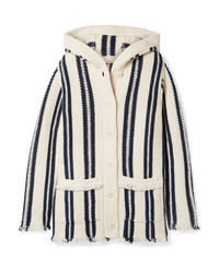Tory Burch Hooded Fringed Striped Linen And Wool Blend Cardigan