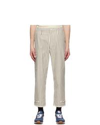 Junya Watanabe White And Black Striped Cargo Pants