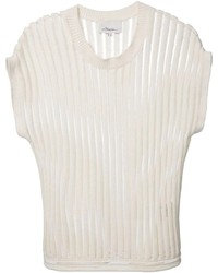 White Vertical Striped Crew-neck T-shirt