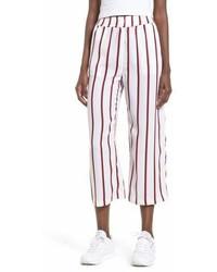 White Vertical Striped Culottes